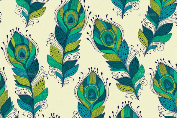 Seamless Pattern Peacock Feather