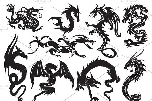 Set of Dragon Tattoo Design