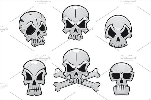 Set of Skull Tattoo Design