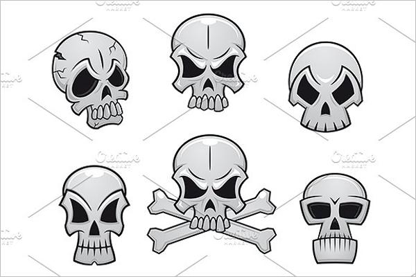 Set of Skull Tattoo Design