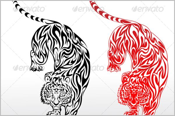Set of Tiger Tattoo Design
