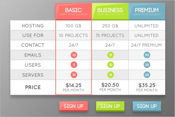 basic html table template - pricing table templates psd free premium templates