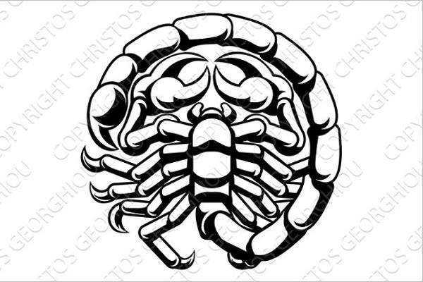 Simple Scorpio Tattoo Design