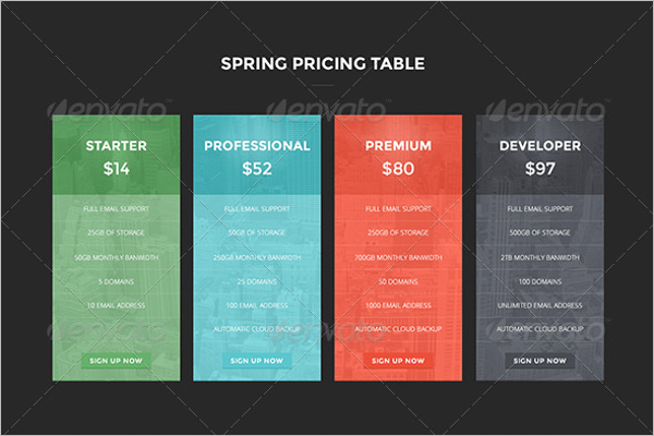 Spring Website Pricing Table