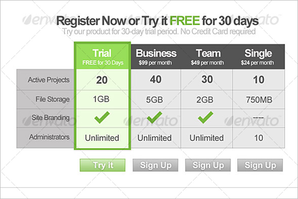 Style Modern Pricing Table Design
