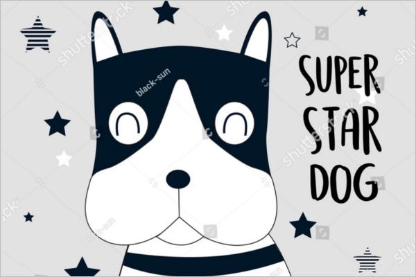 Super Star Dog Cartoon Design