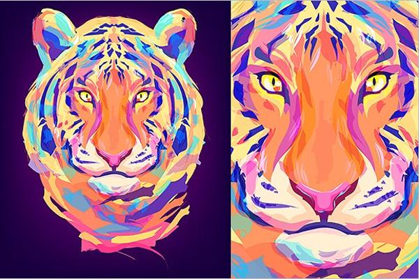 Tiger Illustration Tattoo Design