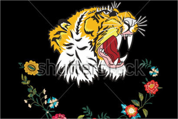 Tiger Tattoo With Flowers Design