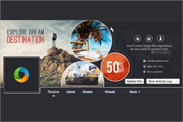 Travel Facebook Flat Cover Template