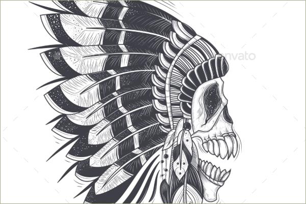Tribal Skull Vector Design