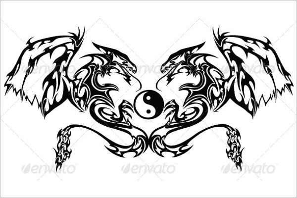 Twin Dragon Tattoo Design