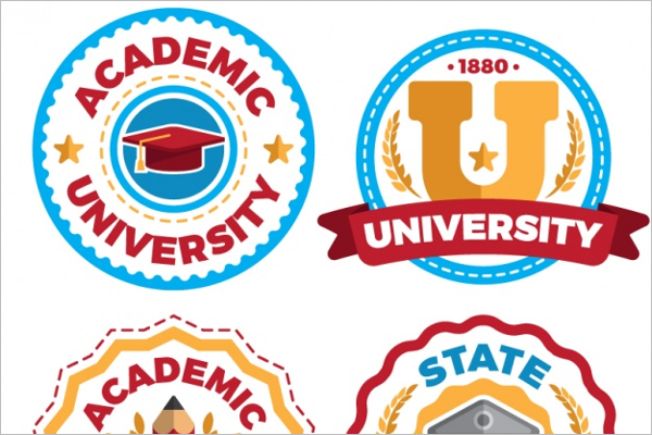 University Graduation Badges Design