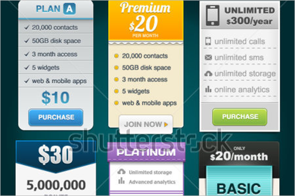 Vector Pricing Tables for Web