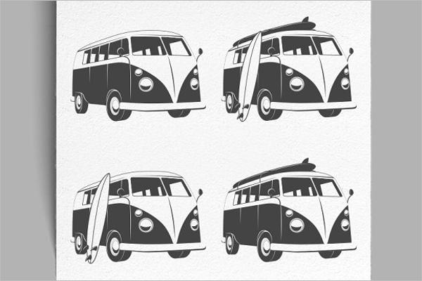 Vintage Bus Illustration Vector