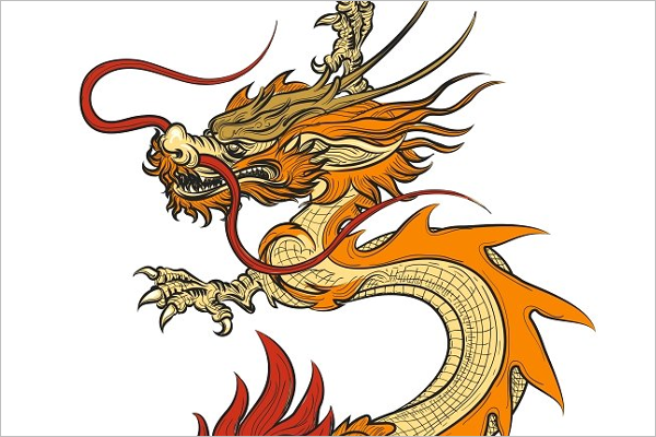 Vintage Dragon Tattoo Design