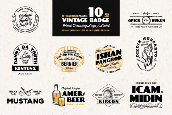 Vintage Typography Badge Templates