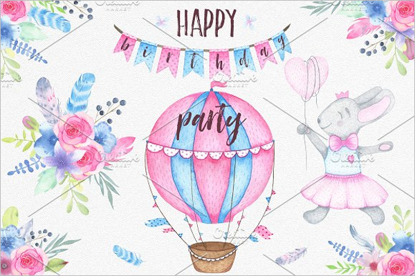 Watercolor Birthday Party Invitation Template