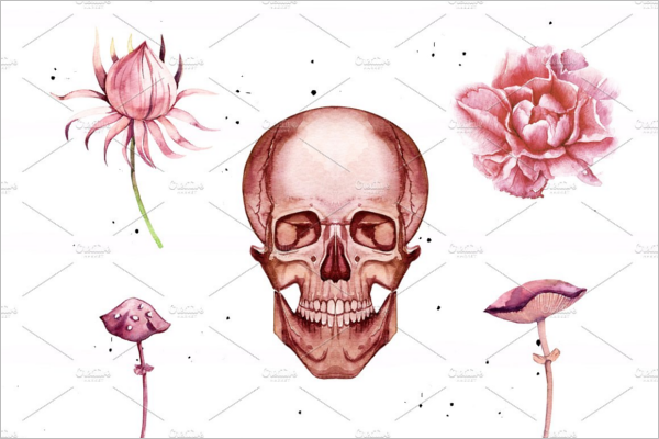 Water Color Human Skull Design