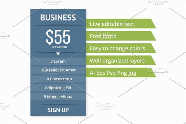 Website Pricing Table PSD Template