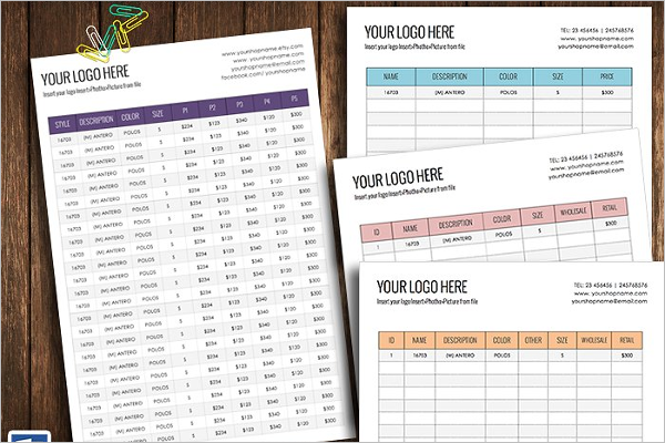 Wholesale price sheet Template