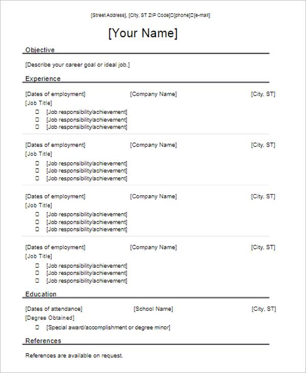 3 Chronological Resume Template