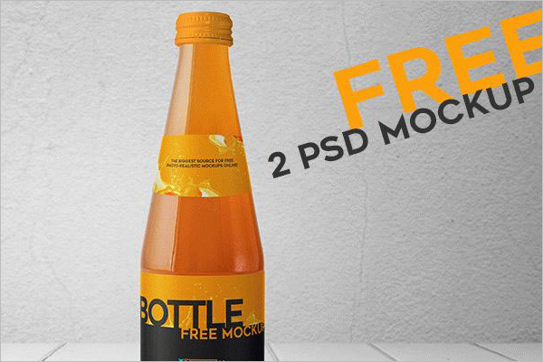 3DFreeJuice Bottle Mockup Design