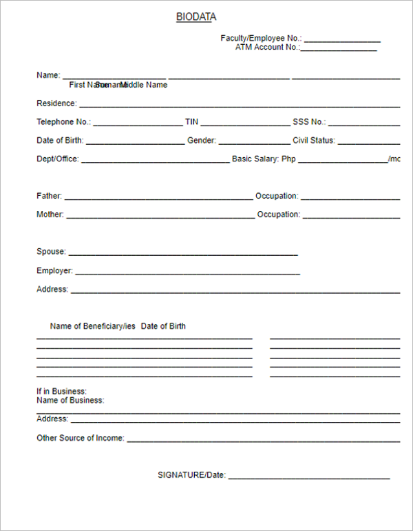 6 Biodata Form Download