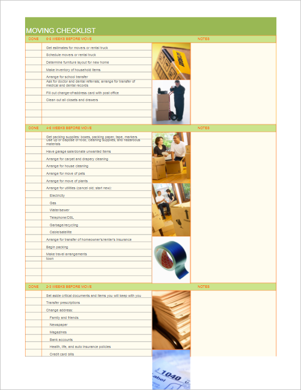 6 Moving Packing List Template