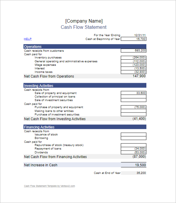7+ Cash Flow Statement Template