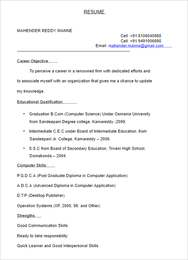 7Computer Science Resume Template