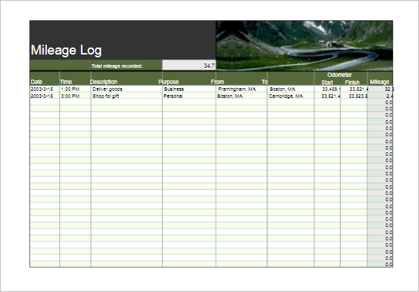 8Mileage Log Template