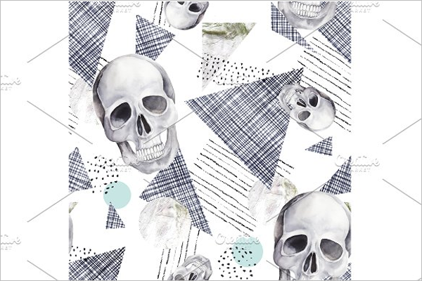 Abstract Seamless Pattern With Skull