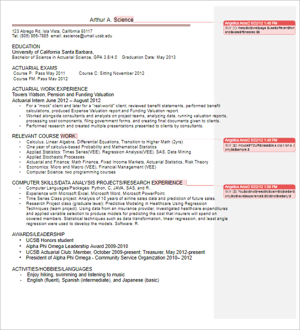 4 Actuarial Science Resume Cover Letter  Actuarial Science Resume