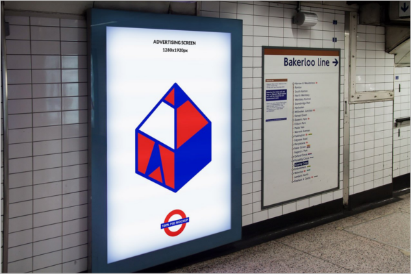 Advertising Screen Mockup Design