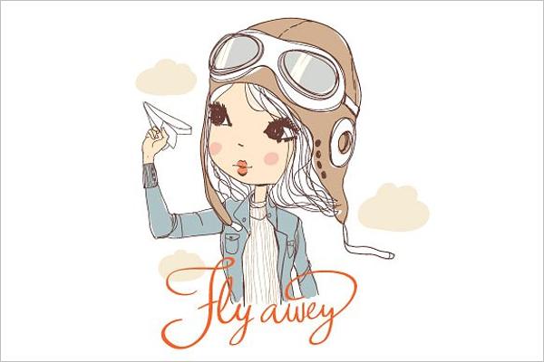Aircraft Cartoon Girl Character