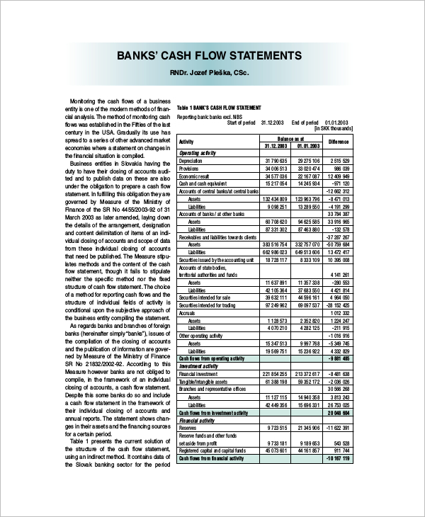 Bank Cash Flow Template