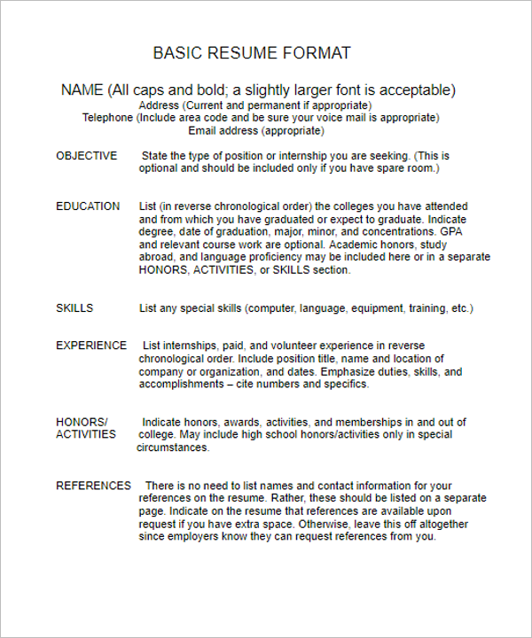 basic resume template - Basic Resume Sample