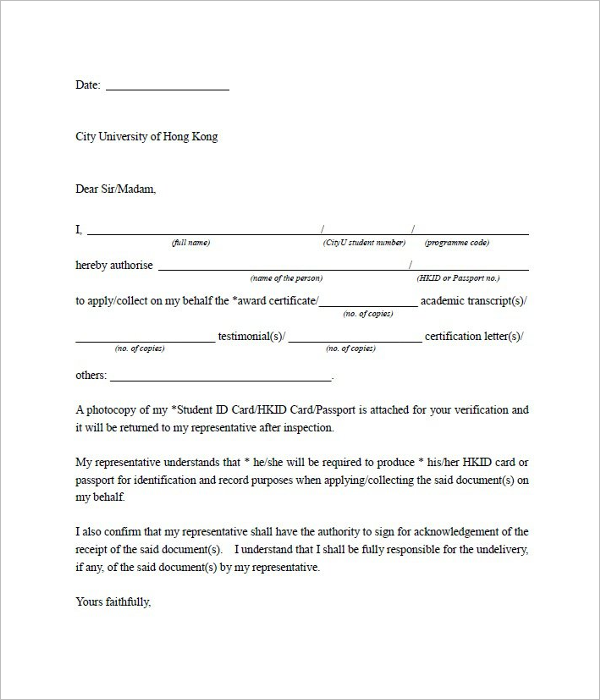 Best Authorization Letter Template