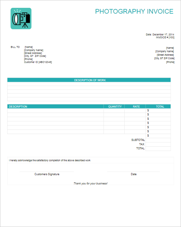 Best Photography Invoice Template