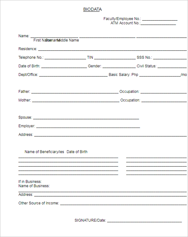 Biodata Form for Job Application