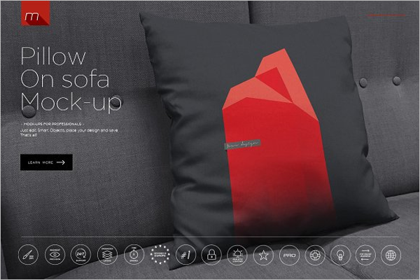 Black Pillow Mockup Template