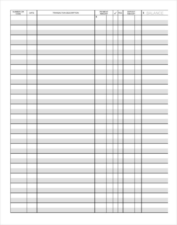 Blank Checkbook Register Template