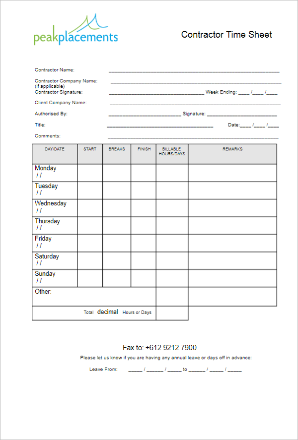 Blank Contractor Timesheet Template