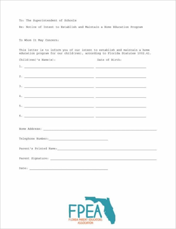 Blank Letter of Intent Template