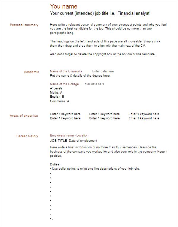 Blank Resume Format Download