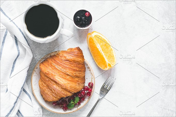 Breakfast with croissant Mockup