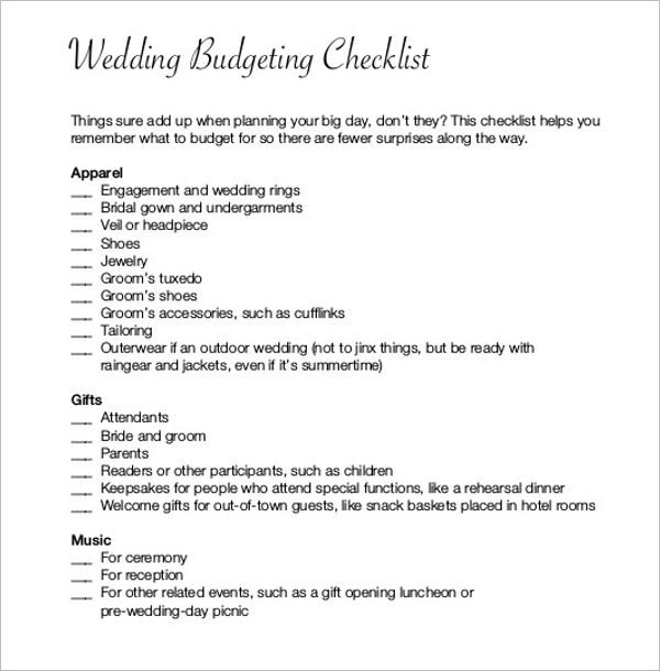Budget Plan For Wedding