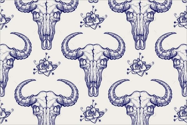 Buffalo Skull Seamless Pattern