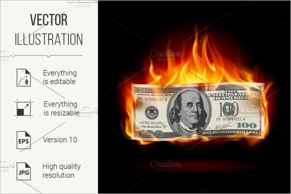 Burning Dollar Background Vector