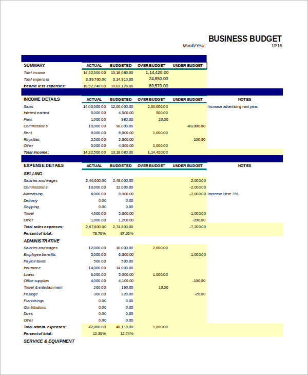 Business Budget Excel Format